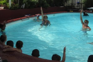 Ms Carolyn teaching backstroke